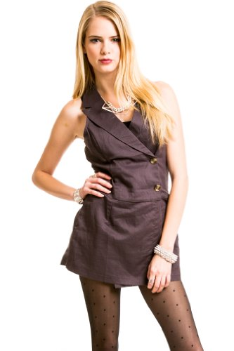 Collared Linen Romper in Dark Purple