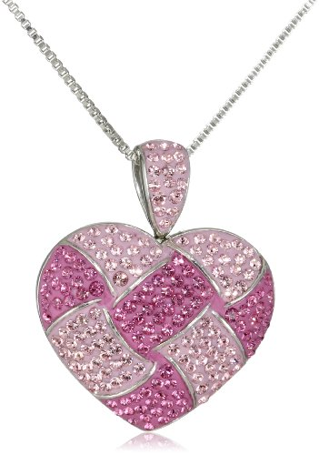 Carnevale Sterling Silver Pink Quilted Heart with Swarovski Elements Pendant Necklace, 18