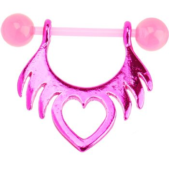 Bioplast Pink Tribal Heart Nipple Shield Piercing Jewelry