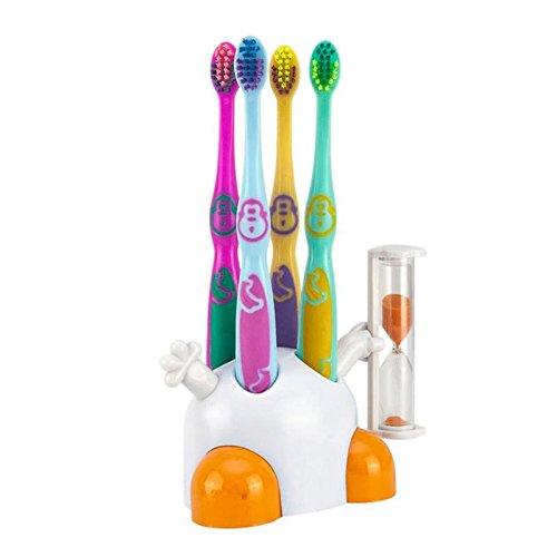 set-kinderzahnbursten-mit-zahnburstenhalter-weiss-orange-mit-sanduhr-zur-zahnpflege-ihrer-kinder