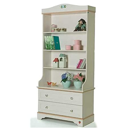 Children's Bedroom Furniture - Girls Flora White Bookcase
