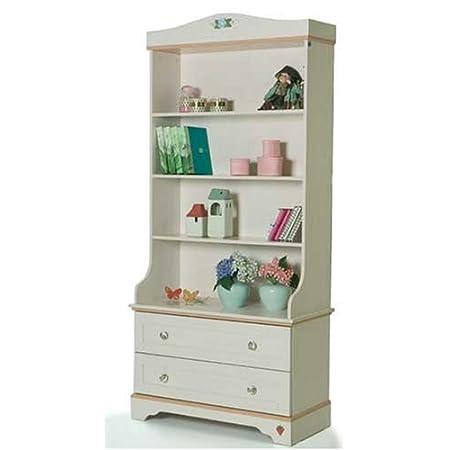 Children's Bedroom Furniture - Girls Flora White Bookcase