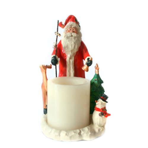 """Candle Impressions 8"""" Forest Friends Santa Candle Holder With 3"""" Flameless Battery Operated Wax Led Candle With Built In Five Hour Timer"""