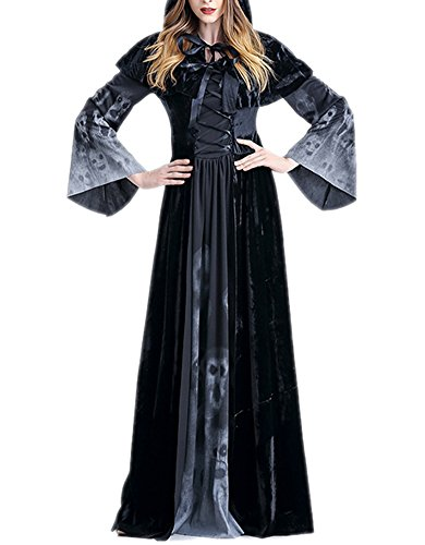 [RedExtend Women's Vampire Cosplay & Halloweeen Party Costume Black Full Length Dress + Cloak,] (Cocktail Honey Costumes)