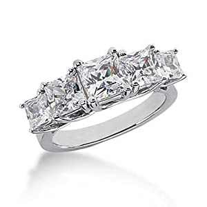 14K Gold Diamond Anniversary Wedding Ring 5 Princess Cut Diamonds 3.45 ctw. 133WR56414K - Size 5.5