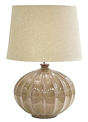 Urban Shop Reactine Glaze Lamp with Faux Linen Shade