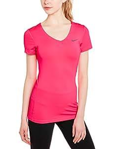 Nike Damen kurzarm T-Shirt Pro Fitted, Hyper Pink/Light Ash, XS, 589370