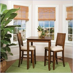 Home Styles Jamaican Bay Square Bistro Table Set in Soft Mahogany