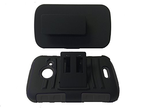 For ZTE Z667 Zinger Prelude 2 Whirl 2 Z667G Hard Soft Dual Hybrid Kickstand Case with Belt Clip Holster Accessories + Happy Face Phone Dust Plug (Belt Clip Black-Black) (Phone Cases For Model Z667g compare prices)