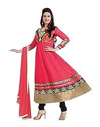 Lookslady Pink,Black Georgette Semi Stitched Salwar Suit