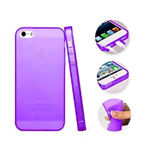 Aibocn TPU Frosted Shell Soft Case Protective Skin Cover for Apple iPhone 5 5S Purple New, Free Screen Protector