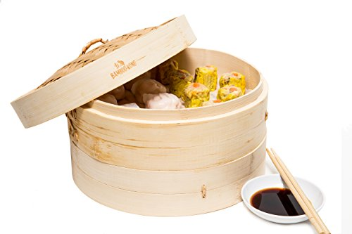 BambooKong 3-piece Bamboo Steamer, 10 Inch (Steamer Basket 10 Inch compare prices)