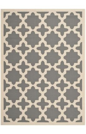 Safavieh Cy6913-246 Courtyard Collection Indoor/Outdoor Area Runner, 2-Feet 3-Inch By 7-Feet 6-Inch, Anthracite And Beige front-722890