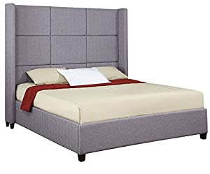 Tall Wingback Gray Upholstered Padded Queen Headboard Platform Bed