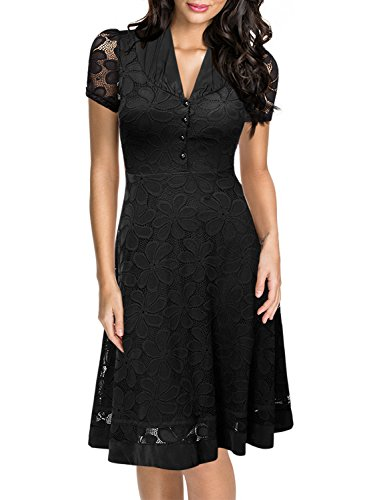 Miusol Women's Deep V Neck Button Cardigan Tight Skirt Lace A Line Swing Dress,Black Size L-UK12