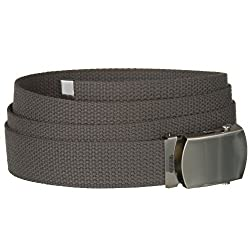 Flint Gray One Size Canvas Military Web Belt With Silver Slider Buckle