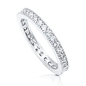 BERRICLE Sterling Silver Cubic Zirconia CZ Womens Wedding Bridal Anniversary Eternity Band Ring from BERRICLE