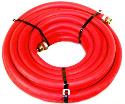 Water Hose Continental (Formerly Goodyear) 5/8 X 50' RED RUBBER Industrial 200psi With Brass Fittings - Heavy...