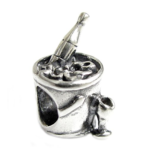 .925 Sterling Silver Champagne Wine Drink Bead For European Charm Bracelets