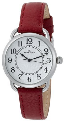 AK Anne Klein Women's 108687SVRD Easy to Read Silver-Tone Casual Watch with a Red Leather Strap