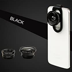 Selfie Cam Lens, BUTEFO Universal 4 in 1 iPhone Lens Camera Phone Lens Kit Clip on Fish Eye Lens + 2 in 1 Macro Lens + 0.67x Wide Angle Lens + 0.4x Supper Wide Lens Camera Lens Kit for Smart Phones