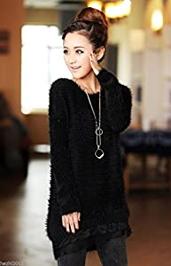 Fashion Sweety New Women's Sexy Casual Long Sleeve Knited Sweater Jumper Tops Shirt Blouse//White (Black)