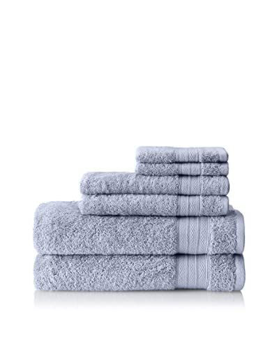 Baltic Linen Low Twist 6-Piece Towel Set, Delft Blue
