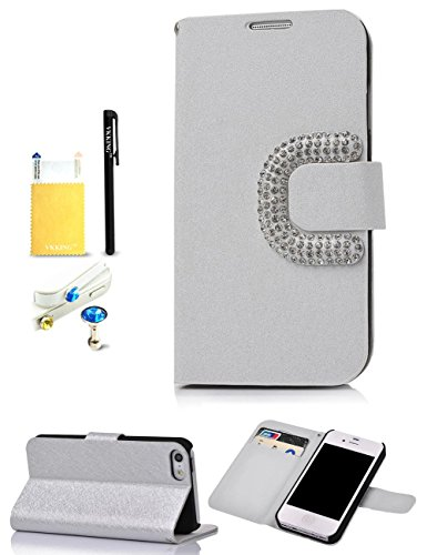 VKKING(TM) New Style Big C Buckle Silk-like Surface Design PU Wallet Leather Case For Apple iPhone 5C,With Credit Cards Slots,Anti Dust Plug(Color Random),Screen Protector,Stylus and Cleaning Cloth,Silver