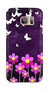 Amez designer printed 3d premium high quality back case cover for Samsung Galaxy S7 Edge (Butterfly n Flowers)