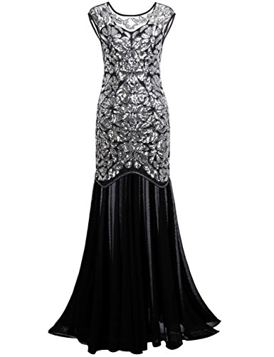 PrettyGuide Women 's 1920s Sequin Gatsby Plus Size Formal Evening Prom Dress XXL Silver