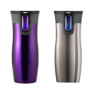 Contigo AUTOSEAL Double Wall Vacuum Insulated Travel Mugs (2 Pack Purple/ Silver)
