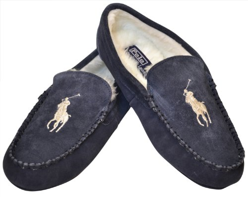 Polo Ralph Lauren Men's Sherpa Lined Slippers-Navy/White (B009SVOLFW)