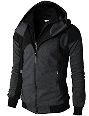 H2H Mens Hoodie Zip-Up Double Zipper Closer With Two Tone Color