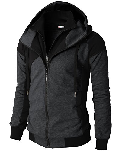 H2H Mens Hoodie Zip-Up Double Zipper Closer With Two Tone Color CHARCOAL US S/Asia M (KMOHOL076)