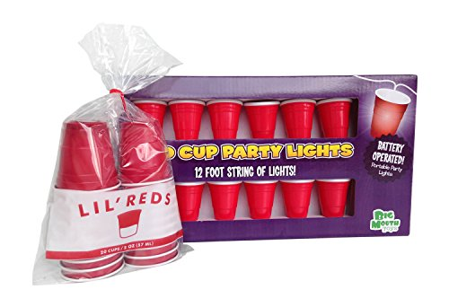 Lil' Reds Mini Cup Shot Glasses - Pack of 20 and Big Mouth Toys Red Cup Party Lights - Bundle