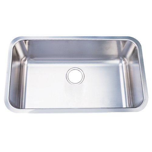 Kingston Brass Gourmetier GKUS3018 Undermount Single Bowl Kitchen Sink 30-Inch-Length by 18-Inch-Width by 10-Inch-Depth, 18 Gauge, Brushed Stainless Steel