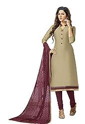 Blissta Beige Chanderi Unstitched Dress Material