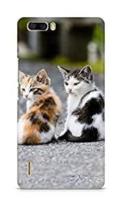 Amez designer printed 3d premium high quality back case cover for Huawei Honor 6 Plus (Two very cute cats)