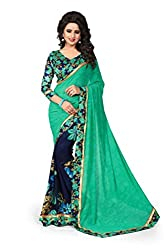 Drapme Floral Print Green Blue Georgette Saree with Designer Printed Blouse