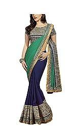 Hari Krishna Sarees Blue and dark green Half-Half saree
