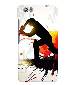 Fuson Cricket Playing Boy Back Case Cover for MICROMAX CANVAS FIRE 4 A107 - D3871