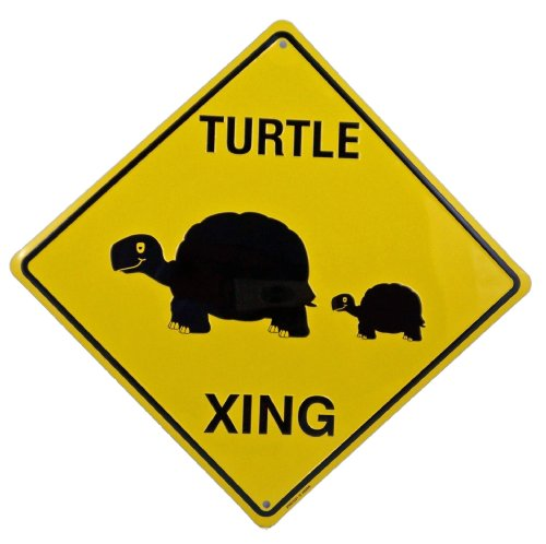 Turtle Crossing Xing Metal Tin Funny Road Sign