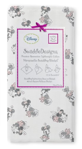 Swaddledesigns Classic Disney Marquisette Swaddling Blanket, Pastel/Gray Minnie front-87492