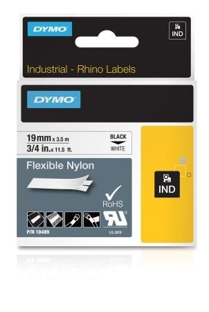 Rhino 3/4 Inch White Flexible Nylon Label Cartridge With White Earbud Headphones