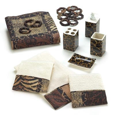 Designer Jungle Print Savannah Complete Bath Decor Set