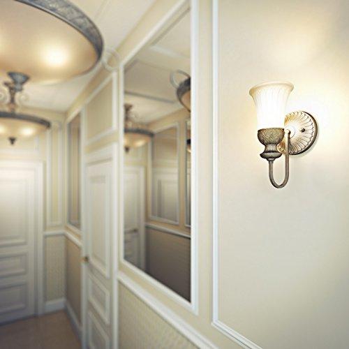 Applique style antique, clasique, armature en fer et polyrésine coloré en argente, plafonnier en verre matte, style maison de campagne 1 ampoule non-incl. E27 1x60W 230V