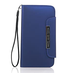 ZuGadgets 7484-4 Leather Flip Wallet Case with Credit/ID Card Slot and Free Screen Protector for Samsung Galaxy S S3 i9300/SC-06D - Blue