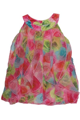 Biscotti Baby Girls' Covered In Roses Vertical Ruffle Dress, Pink/Blue/Green, 24 Months