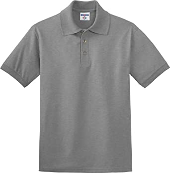 Jerzees J300 5.6 oz. 50/50 Blended Jersey Polo-Small-Oxford