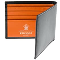 Ettinger Leather Billfold Wallet - Black with Orange interior